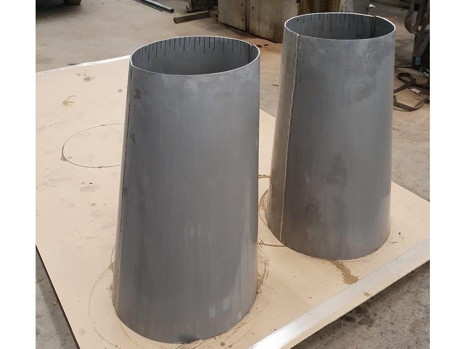 Tronc de cônes obliques réalisés par l'entreprise Doutres avec le logiciel de traçage MetalFox