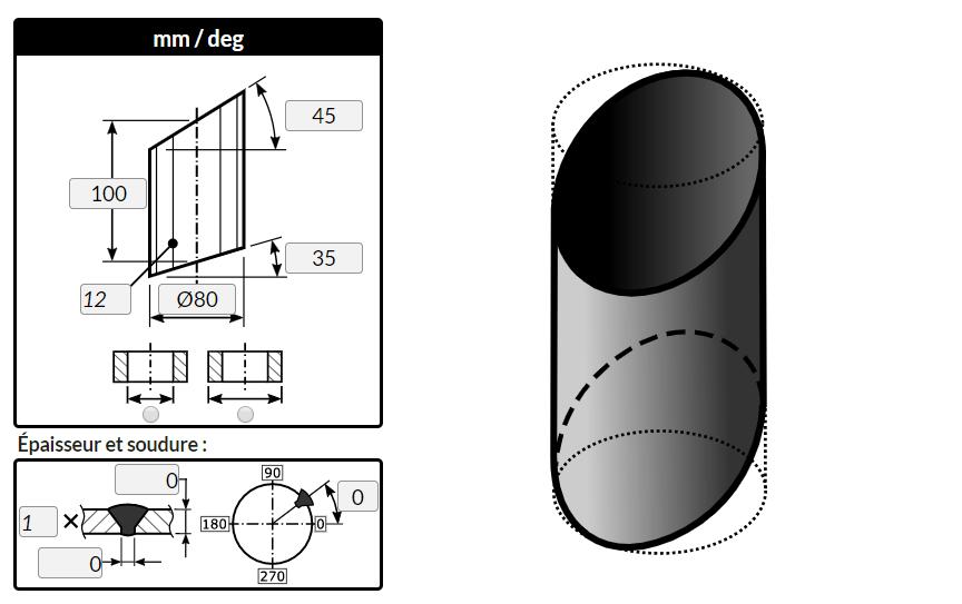 Traçage d'un cylindre coupé par deux plans opposés avec le logiciel MetalFox