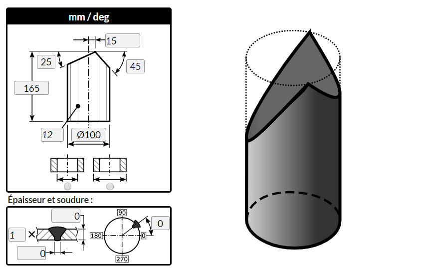 """Traçage d'un cylindre coupé par deux plans en """"A"""" avec le logiciel MetalFox"""
