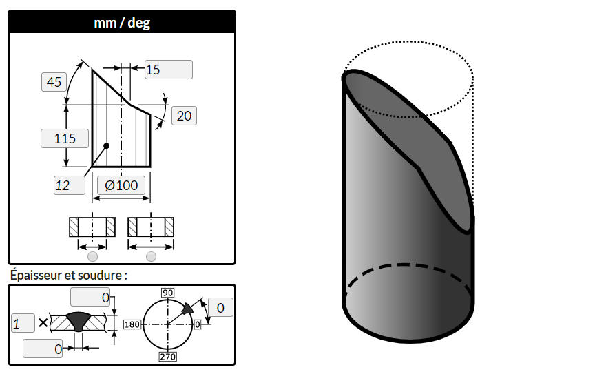 """Traçage d'un cylindre coupé par deux plans en """"L"""" avec le logiciel MetalFox"""