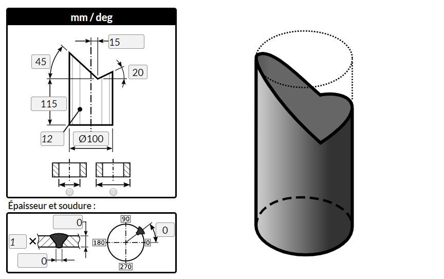 """Traçage d'un cylindre coupé par deux plans en """"V"""" avec le logiciel MetalFox"""