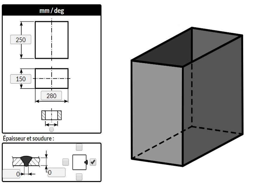Traçage d'un rectangle droit plié de faible épaisseur avec l'outil de tôlerie MetalFox